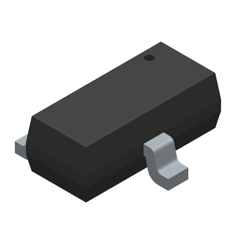 ON Semiconductor FDN340P (SOT23 (3-Pin)) 3D model isometric projection.